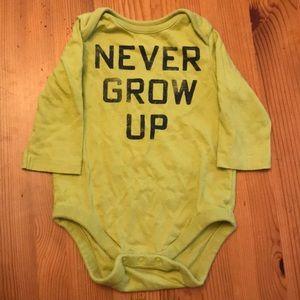 Gap Never Grow Up Long Sleeved Onesie
